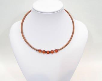 Carnelian beads choker, leather choker with Carnelian beads, Natural leather and natural stone beads, red stone choker, gemstone necaklce