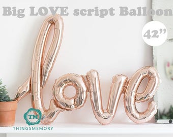 Big LOVE script Balloon - 42 x 25 inch / decoration, propose marriage, engagement party, wedding decor, backdrop, valentines, anniversary