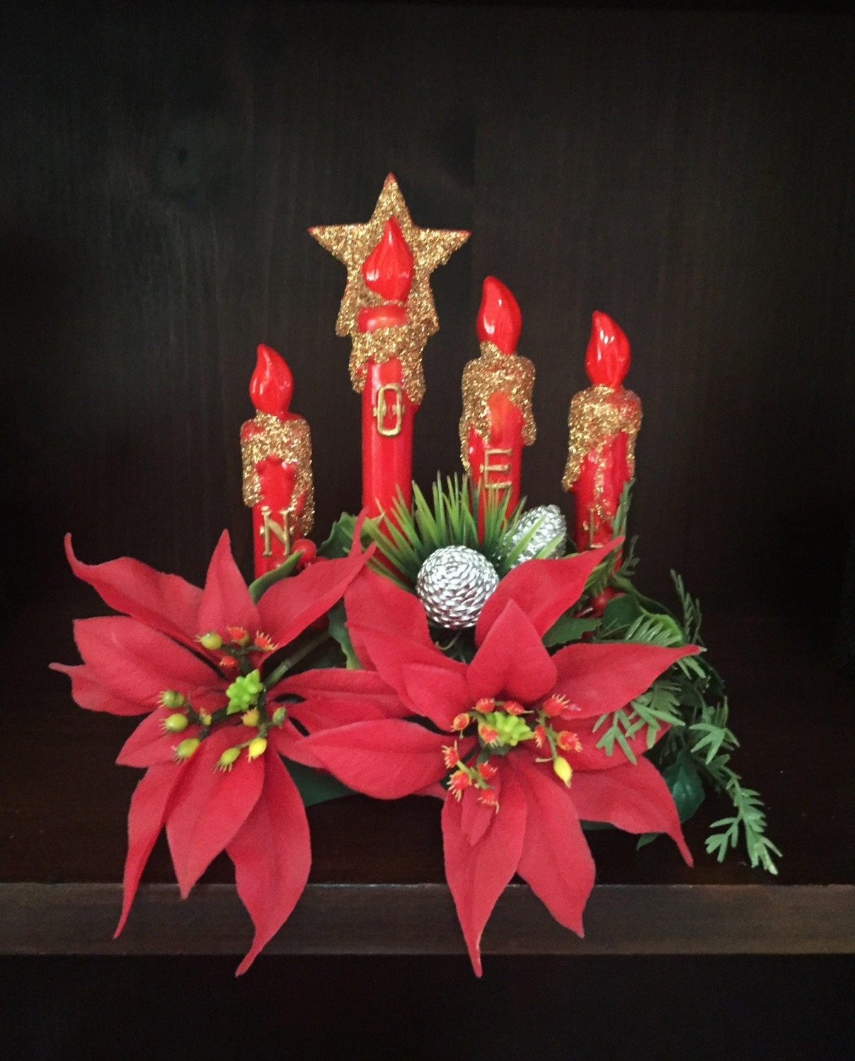 Vintage christmas table decoration noel candle poinsettia for Decoration table noel