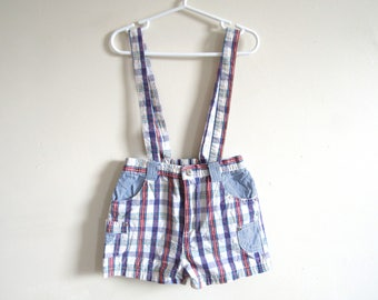 4T - Red and Blue Plaid Sailor Cotton Linen Short Overalls Shortalls 4T Toddler