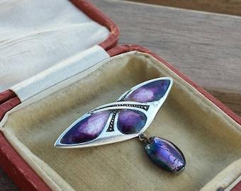 "c1900 Liberty London ""QUEENSWAY"" Art Nouveau purple enamel and silver brooch -stunning!"