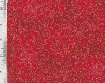 Christmas Bells - Per Yd - Quilting Treasures - Swirls on Red