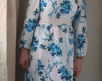 Blue and White Floral 1970s Style Vintage Dress, UK 8