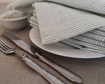 Striped Linen Napkin Set of 4 8 12 - White Grey Linen Napkins - Natural Linen Napkins - Easter Linen Napkins - Greenish Grey Striped Napkins