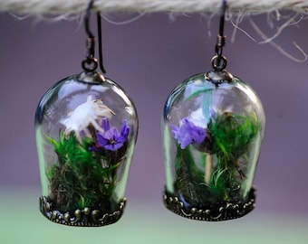 Terrarium jewelry, Real moss, Flower earrings ,Romantic jewelry, real flower earrings, fairy garden, boho jewelry, statice, gifts for her