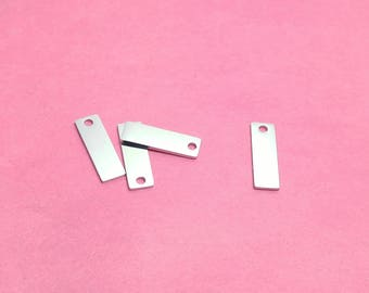 "3/4"" Stainless Steel Rectangle Tag Blanks, Finished Blanks, WITH HOLE, Mirror Finish on Both Sides, Stamping Blanks, Rectangle Blanks"
