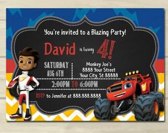 Blaze Birthday Invitations ,Blaze and the Monster Machines Birthday Invitation, Printed or Digital Download *** FREE SHIPPING
