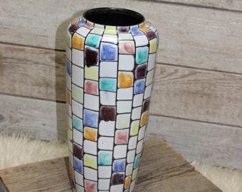 Mosaic vase ceramic 30cm german pottery mid century true vintage
