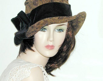 Wide brim black and brown tapestry slouch hat size S - OOAK