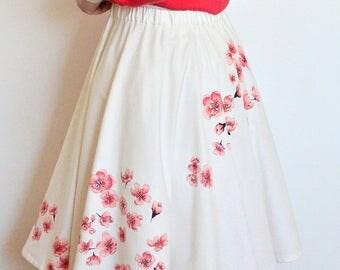 Cherry blossom skirt, Sakura circle skirt, Hand painted skirt, Wearable art, Pink flowers, Petticoat skirt, 5th anniversary gift 4 her