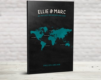 Bucket List Journal, Personalised Travel Book, World Travel Map List, Travel Lover, Travellers Gift, Places We've Been, Where we're going