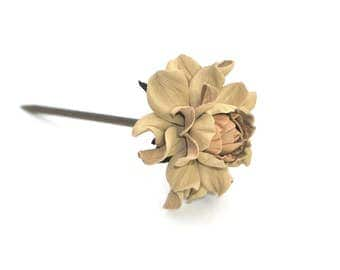 Wooden floral hair stick, real leather & natural wood hair fork, beige rose flower hairfork, handmade hair accessory genuine leather + wood