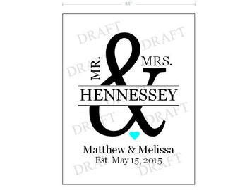 Personalized Mr. and Mrs. Established Sign; Wedding Amperstamp Sign