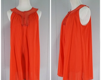 Vintage Womens 1960s Vanity Fair Red Ruffle Neck Nightie | Size M