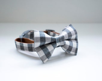 Bow Tie Collar | Cozy Checkered Grey | Dog & Cat
