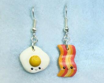 Earrings Egg and Bacon Kawaii