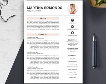 Creative Professional Word Resume Template, 1, 2, 3 Page CV Template, Cover Letter, A4 US Letter, Modern Simple Resume Design, MARTINA