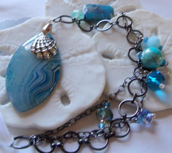 Ocean blue agate sun catchers, kitchen decor, tear drop stripe stone, car/dorm/ sun room accessory, window ornament , anchor charm, sandals