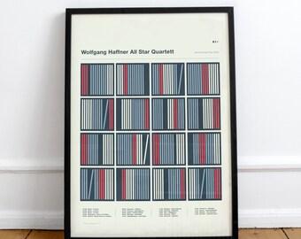 Wolfgang Haffner All Star Quartett Screenprint • Design by Simon Marchner || Gig Poster Artprint Silkscreen Limited Edition Siebdruck Print