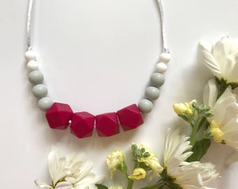 raspberry + dove + white teething necklace