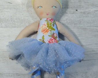 "Adeline - Handmade rag doll, 38cm (15""), fabric doll, ballerina doll, gifts for girls."