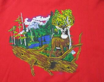 Vintage Deer Sweatshirt - Vintage Deer Crewneck - 90s Nature Sweater - Vintage Deer Sweater - Vintage Red Crewneck - 1992