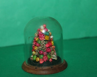 Vintage Dolls House Floral Display In A Bell Jar Glass Dome