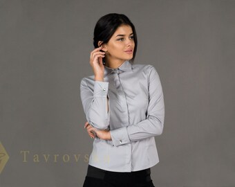 Grey Cotton Women's Shirt Gemelli by TAVROVSKA, Long Sleeve Blouse with Hidden Buttons