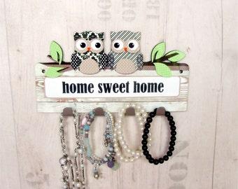 Black and White Owl Key Rack | Key Hooks | Home Decor | Home Sweet Home Rack