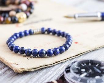 6mm - Blue lapis lazuli beaded stretchy bracelet, custom made yoga bracelet, mens bracelet, womens bracelet, lapis lazuli bracelet