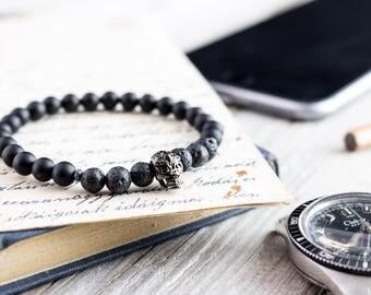 6mm - Matte black onyx & lava stone beaded stretchy bracelet with gun metal skull, natural bead mens bracelet, gemstone bracelet