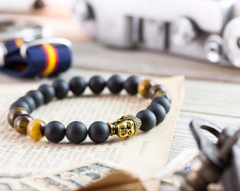 8mm - Matte black onyx & tiger eye stone beaded stretchy bracelet with gold Buddha, made to order bracelet, mens bracelet, womens bracelet