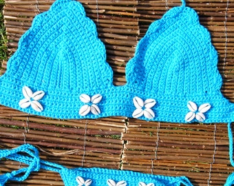 Crochet Bikini set with real cowrie shells - PALM