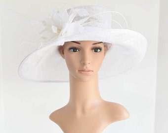 L17 New Kentucky Derby, Church, Wedding, Easter, Tea Party Wide Brim with feather flower Sinamay Hat (White)