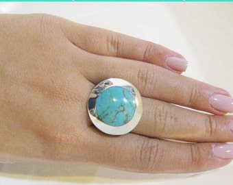Turquoise Ring, Sterling Silver Ring, Adjustable Ring, Unique Turquoise Jewelry, Silver ring,Stament Ring, December Birthstone Turquois,