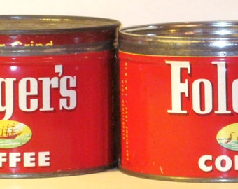 Folger's Coffee Cans With Lids-- 2  Cans --1 lb.  Each ---Two Coffee Cans for One  Price--1952