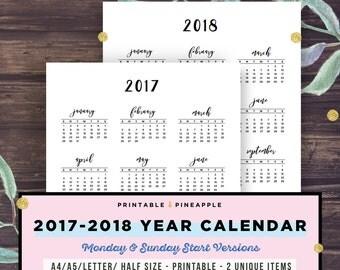 2017 2018 calendar | Etsy