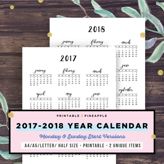 Calendar Printable Year At A Glance Yearly Agenda