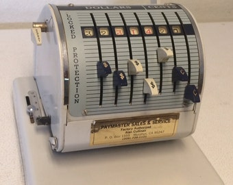 Vintage check writing machine Paymaster Model X-550, Vintage Office Decor, Retro Decor, Office Display, Industrial Display, Industrial Decor