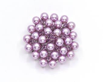 Purple Brooch, Purple Pearls Broach, Wedding Accessories, Bridal Brooch