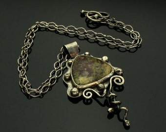 Jasper Necklace, Silver Pendant, Sterling Silver, Silversmith, Metalsmith, Handmade, Artisan Jewelry, Organic