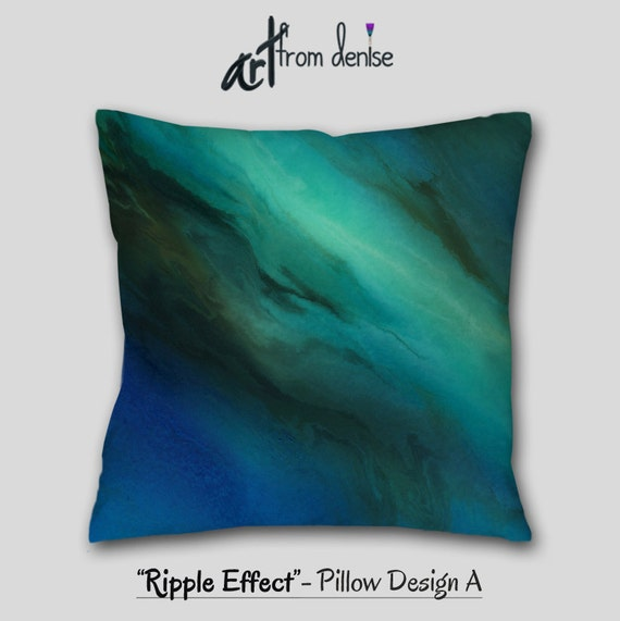 Blue brown Throw pillow Teal turquoise aqua pillows Bedroom