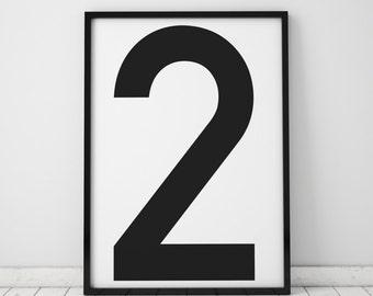 Number 2 Print, Wall Art, Scandinavian Art, Scandinavian Poster, number 2 Poster, Number 2 Print, INSTANT DOWNLOAD