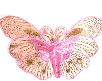 Butterfly Patch, 1930s vintage embroidered applique. Vintage patch, sewing supply. Applique, Crazy quilt. #6A7GB8KF