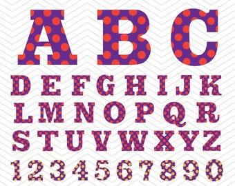 Sports Alphabet Polka dot Letters Numbers SVG PNG DXF eps, baseball college Font, Vinyl Decal Cut File Cricut Design Silhouette studio