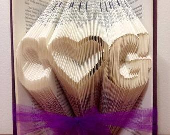 Custom Intials folded Book - Paper Anniversary - Christmas - Girlfriend - Boyfriend - Valentine's day - Love