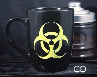Biohazard Coffee Cup - Tea Mug - Toxic Symbol - Hand Painted - Etched