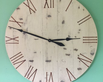 Farmhouse Wall Clock , Large Wall Clock ,Wall Clock , Wood Wall Clock, Handmade Wall Clock, Large Clock, Painted Wall Clock, Home Decoration