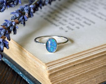 White Opal Ring - Genuine Opal Triplet - Inspiration & Creativity - Alternative Engagement - October Birthstone