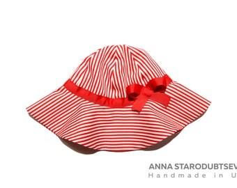 Girl sun hat Girls summer hat Baby sun hat Toddler sun hat Hat for summer Baby panama Girl summer panama Striped sun hat